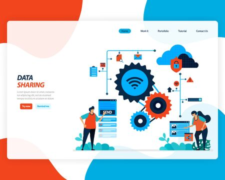 vector cartoon illustration of data sharing technology, remote worker, network industry 4.0, people sending work file. cloud improvement to upload is effective. for website, landing page, mobile app