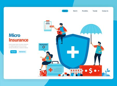 Landing page vector design for micro financial insurance and low cost health protection. Flat cartoon illustration for landing page, template, ui ux, web, website, mobile app, banner, flyer, brochure