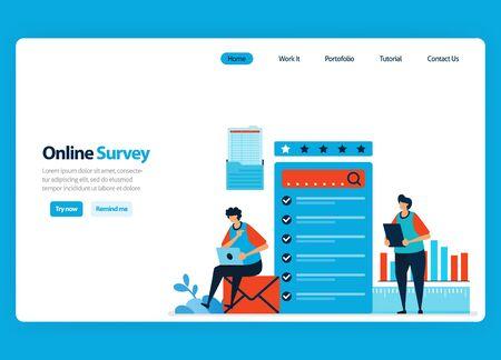 Landing page design for online survey and exam, filling out surveys with internet and validation software. Flat illustration for document, template, ui ux, web, website, mobile app, banner, flyer Ilustração