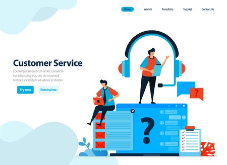 website design of customer service and help center. handle and answer customer questions and complaints. Flat illustration for landing page template, ui ux, website, mobile app, flyer, brochure, ads Stock Illustratie