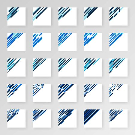 Corner Decor Pack For Business Cards With Modern Tech Style. Modern Ornament For Designs In Light Blue And Dark Blue. Design Illustrations Can Be Used For Print, Flayer, Brochure, Background, Cover