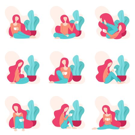Illustration Of A Woman Relaxing While Drinking Coffee. Design With Feminine And Girly Feel. Various Styles And Attitudes Of Women While Drinking Coffee And Resting In Afternoon After Working All Day