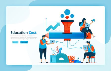 Vector illustration of activities from financing in education. Scholarship and education network. Funding assistance program for students. Financial access. Designed for landing page, web, mobile apps