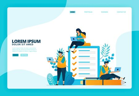 Cartoon illustration of surveys and examinations. Vector design for landing page website web banner mobile apps poster
