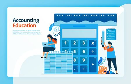 Vector illustration of activities from accounting and measurement education. Calculator for calculation. Ruler to measure finances. Bookkeeping learning. Designed for landing pages, web, mobile apps Stok Fotoğraf - 145518609