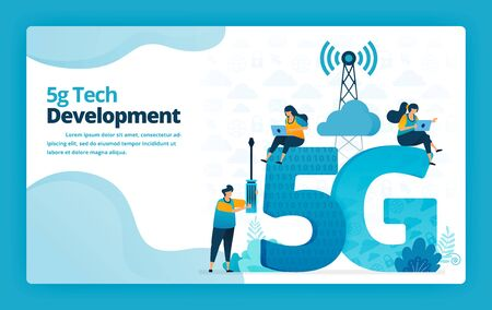 Vector illustration of landing page of 5g advance technology for developing and managing internet networks. Design for website, web, banner, mobile apps, poster, brochure, template, ads, homepage Ilustración de vector