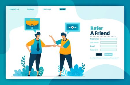 Landing page vector design of refer a friend. Design for website, web, banner, mobile apps, poster, brochure, template, billboard, welcome page, promotion, cover, business card, advertisement