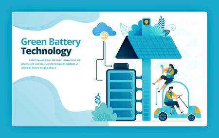 Vector illustration of landing page of battery charging stations for mobile and electric cars with solar panel technology. Design for website, web, banner, mobile apps, poster, brochure, template Vettoriali