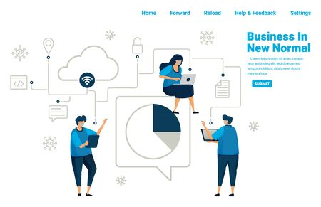 New normal business with connected database services and cloud computing, analyzing business to survive in pandmic covid 19. Illustration design of landing page, website, mobile apps, poster, banner