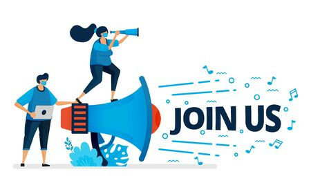 Vector illustration of join us program for employee recruitment at new normal and pandemic. Worker hire announcements. Design can be used for landing page, website, mobile app, poster, flyers, banner