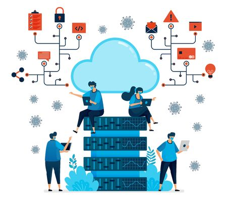Vector illustration of cloud computing platform to support new normal work. Database tech for covid-19 pandemic. Design can be used for landing page, website, mobile app, poster, flyers, banner