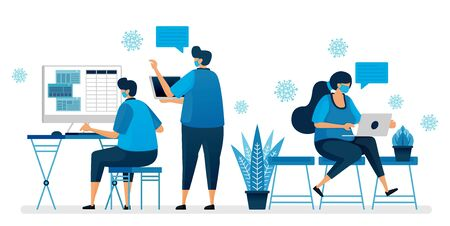 Vector illustration of back to office during the covid-19 pandemic by wearing a mask. Working protocol in new normal. Design can be used for landing page, website, mobile app, poster, flyers, banner