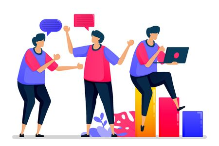 People chat with each other, casual conversation and say hello when they go back to work. Illustrations can be used for websites, web pages, landing pages, mobile apps, banners, flyers, posters Vettoriali