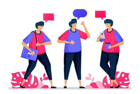 People chat with each other, casual conversation and say hello when they go back to work. Illustrations can be used for websites, web pages, landing pages, mobile apps, banners, flyers, posters