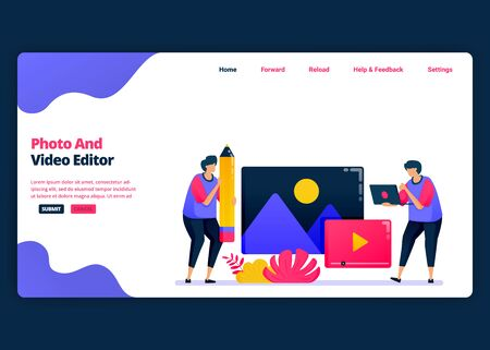 Vector cartoon banner template for video and photo editing with pro software. Landing page and website creative design templates for business. Can be used for web, mobile apps, posters, flyers Vettoriali