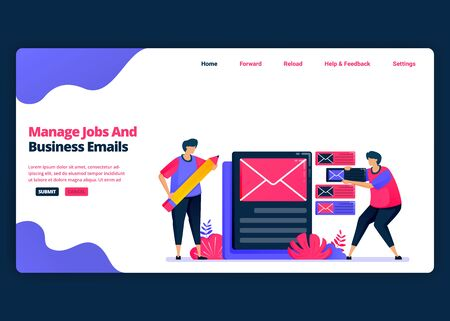 Vector cartoon banner template for managing work and business e-mail effectively. Landing page and website creative design templates for business. Can be used for web, mobile apps, posters, flyers Vecteurs