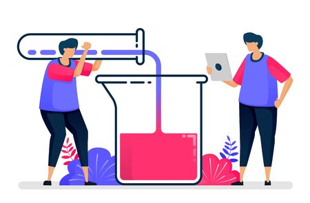 Flat vector illustration of experiment with test tubes and beakers. Chemistry learning and study. Design for healthcare. Can be used for landing page, website, web, mobile apps, posters, flyers
