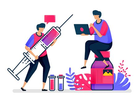 Flat vector illustration of vaccines and liquid medicines for patients, hospitals and public health. Design for healthcare. Can be used for landing page, website, web, mobile apps, posters, flyers Illustration