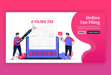 Vector illustration of filing and payment of income tax with online forms. Digital tax reporting with e-form. Tax bills apps. Can be used for landing page, website, web, mobile apps, posters, flyers Illustration