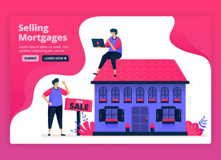 Vector illustration of selling and buying property and real estate with cheap mortgages. Funding for home purchases by banks. Can be used for landing page, website, web, mobile apps, posters, flyers
