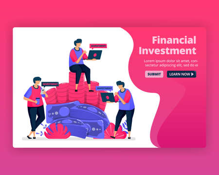 Vector illustration of people save and invest in banking to increase the value of wealth. Currency investment in money market. Can be used for landing page, website, web, mobile apps, posters, flyers Illustration