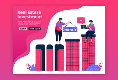 Vector illustration of investing by buying urban property, real estate or apartments. Increase wealth by purchasing property.  Can be used for landing page, website, web, mobile apps, posters, flyers Illustration