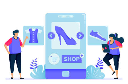 Vector illustration for shopping with mobile apps for fashion products. Open a shop and become a seller with apps. Can be used for landing page, website, web, mobile apps, posters, flyers