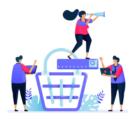 Vector illustration for online product shopping cart search. E commerce and checkout on the marketplace. Can be used for landing page, website, web, mobile apps, posters, flyers Illustration
