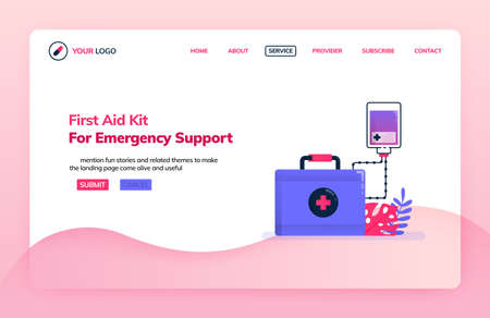 Landing page illustration template of first aid kit for emergency support. Infusion for emergency departments. Health themes. Can be used for landing page, website, web, mobile apps, poster, flyer