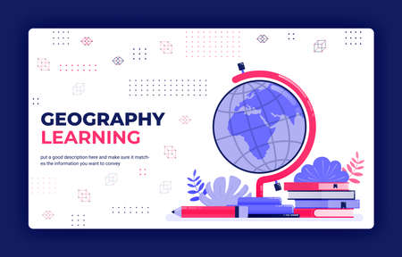 Landing page vector illustration of geography learning. Cartography for reading globe, maps, world atlases. Can be used for website web mobile apps poster flyer background element banner template
