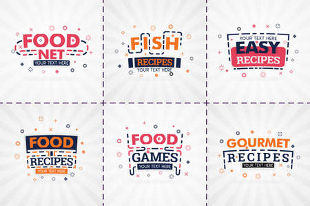 cooking book set for food and recipe magazines. Restaurant menu titles or badges for food stores and restaurants. Minimalist design for recipe banners