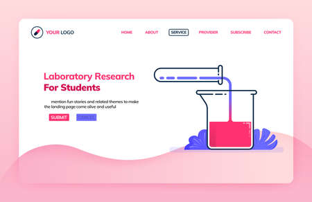 Landing page illustration template of research laboratory for students. Research and chemical supplies. Health themes. Can be used for landing page, website, web, mobile apps, poster, flyer Illustration