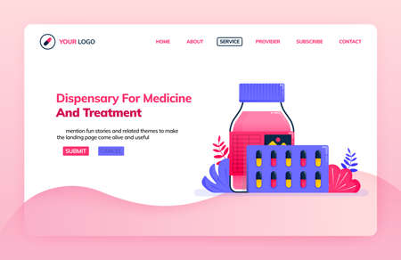 Landing page illustration template of dispensary for medicine and treatment. Drugs for health services. Health themes. Can be used for landing page, website, web, mobile apps, poster, flyer