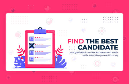 Vector poster illustration of find the best candidate. Selecting employees with rating, opinion, feedback and review. Can be used for website web mobile apps flyer background element banner template