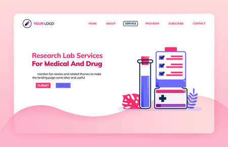 Landing page illustration template of research lab services for medical and drug. Knowledge of chemistry. Health themes. Can be used for landing page, website, web, mobile apps, poster, flyer