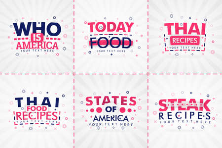 Pink cooking book set for food and recipe magazines. Restaurant menu titles or badges for food stores and restaurants. Minimalist design for recipe banners