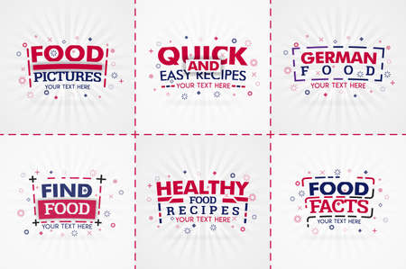 Red cooking book set for food and recipe magazines. Restaurant menu titles or badges for food stores and restaurants. Minimalist design for recipe banners