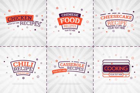 orange cooking book set for food and recipe magazines. Restaurant menu titles or badges for food stores and restaurants. Minimalist design for recipe banners Illusztráció