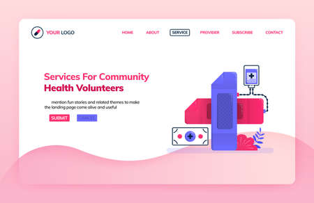 Landing page illustration template of service for community health volunteers. Cross symbol with a bandage. Health themes. Can be used for landing page, website, web, mobile apps, poster, flyer