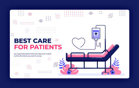 Landing page vector illustration of best care for patients. Booking hospital bed with infusion and love hose. Can be used for website web mobile apps poster flyer background element banner template