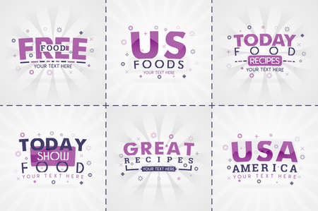 purple cooking book set for food and recipe magazines. Restaurant menu titles or badges for food stores and restaurants. Minimalist design for recipe banners