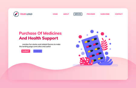 Landing page illustration template of purchasing of medicine and health support. Online pharmacy website. Health themes. Can be used for landing page, website, web, mobile apps, poster, flyer Illustration