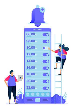 Vector illustration for checklist of alarm apps to wake up. Ring bell apps to remind and warn. Can be used for landing page, website, web, mobile apps, posters, flyers Illustration