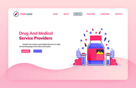 Landing page illustration template of drug service providers and chemical research lab for medical education. Health themes. Can be used for landing page, website, web, mobile apps, poster, flyer