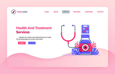 Landing page illustration template of general health and treatment service for hospitals, clinics and dispensary. Health themes. Can be used for landing page, website, web, mobile apps, poster, flyer