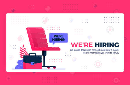 Vector poster illustration of we're hiring ads. Empty seat as symbol of vacancies to find talent and recruit employees. Can be used for website web mobile apps flyer background element banner template