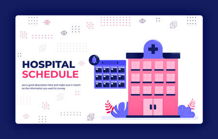 Landing page vector illustration of hospital treatment scheduling, doctor and patient visits, hospital bookings. Can be used for website web mobile apps poster flyer background element banner template Illustration