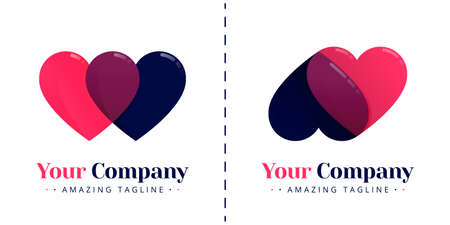 The two love logos which overlap with gradation and transparency. Templates can be used for corporate, dating apps, business wedding events, poster, brochure, invitation, card, website, banner Illustration