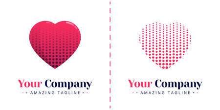 Love logo with a halftone shaped heart. Templates can be used for corporate, dating apps, business wedding events, poster, brochure, wedding invitation, valentine greeting card, website, banner