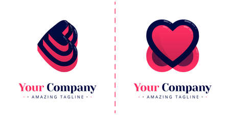 Love logos with stacked cake shapes and love logos that overlap and upside down. Templates can be used for corporate, apps, events, poster, brochure, invitation, greeting card, website, banner Illustration